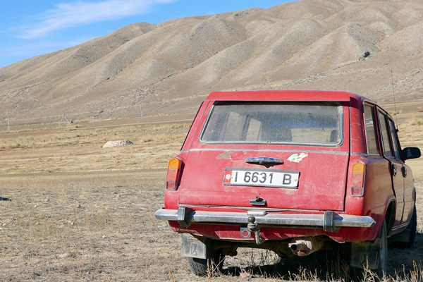 Car in middle of nowhere, Kyrgyzstan