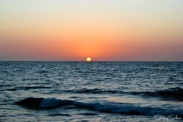 A simple sunset; the sun kissed the sea good night.
