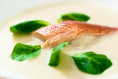 Soup of salsify with smoked trout