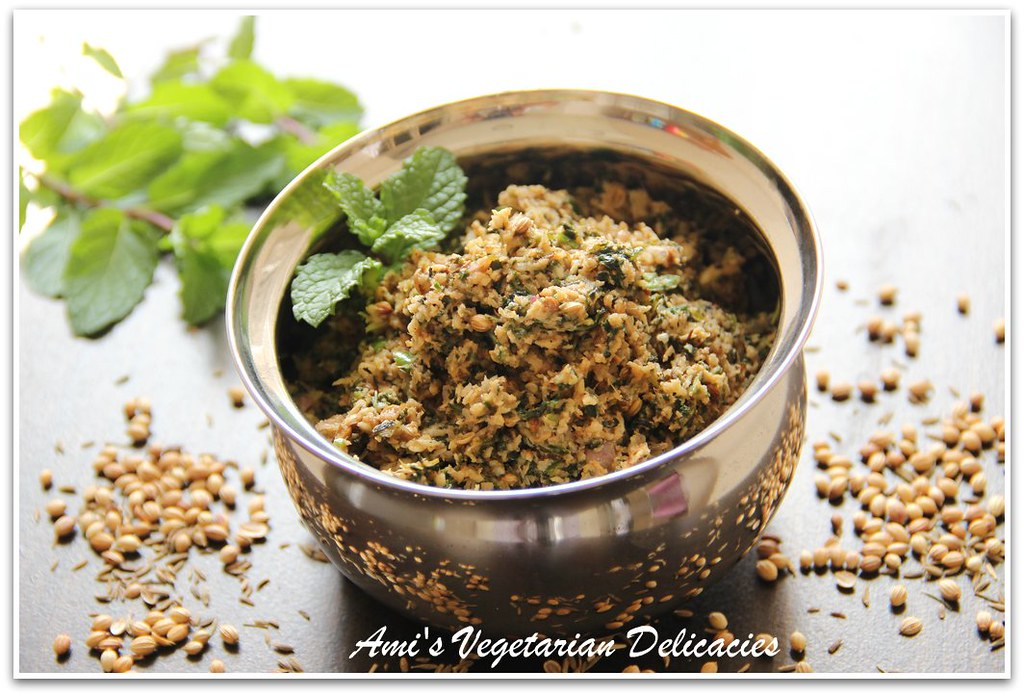 Mint Sambol (Spicy Mint Salad with shredded coconut)