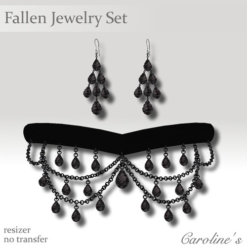 Caroline's Jewelry Fallen Jewelry Set in Black
