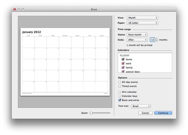 iCal blank calendar print settings