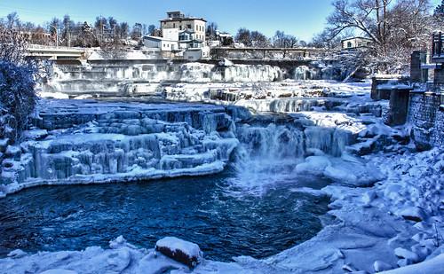 winter snow ice waterfall mississippiriver soe hdr easternontario almonte lanarkcounty supershot mississippimills flickraward