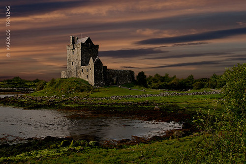 ireland sunset sea sky tower castle grass clouds coast shore inlet walls fiord galwaybay kinvara dunguaire digitalcameraclub
