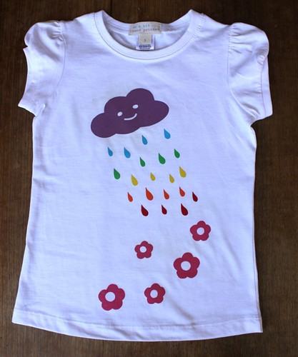 screen print - rainbow cloud