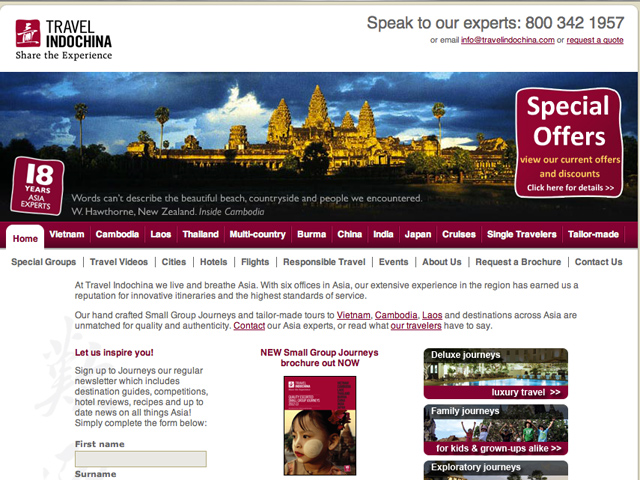Travel Indochina home page