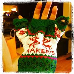 Maker's Mark Christmas sweater keeps one hand warm
