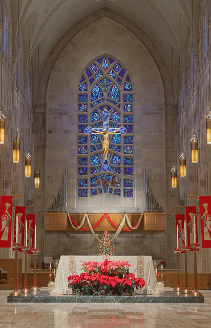 Saint Peter Cathedral, in Belleville, Illinois, USA - sanctuary with Christmas decorations