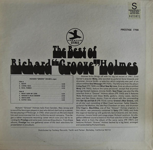 PR 7700  The Best Of Richard Groove Holmesback