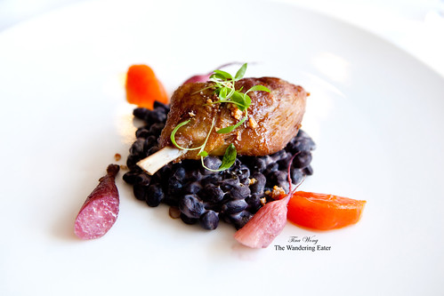 Confit duck leg with fuyu persimmon, red wine braised radishes, black beans, and sesame