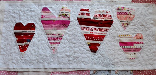 quilting on heart table runner
