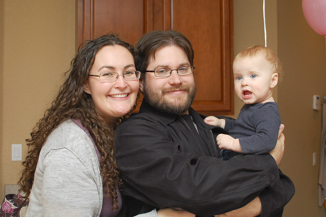 Me, Rob, and George at Avery's first birthday party.