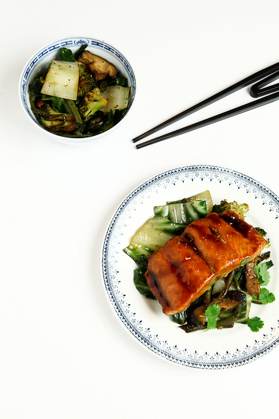 sticky salmon and greens