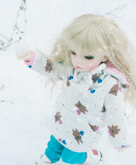 Tamara and a snowman