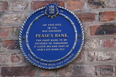 Photo of Pease's bank blue plaque