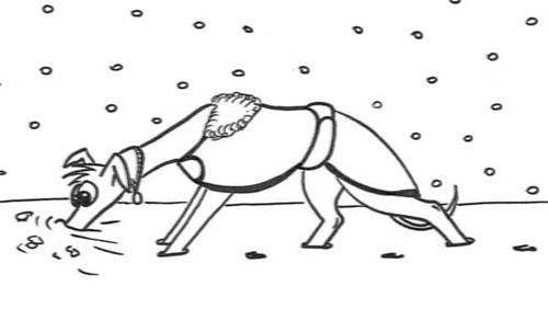 Comic-Whippet-Schneepflug