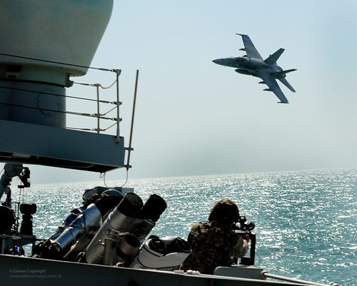 A Kuwaiti F18 Hornet Conducts a Simulated Air Attack on HMS St Albans During an Exercise in the Middle Eas