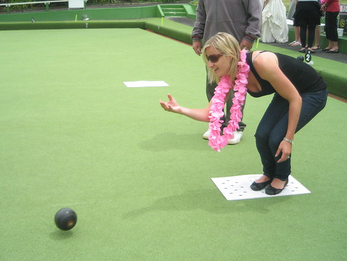 Jacqui playing bowls