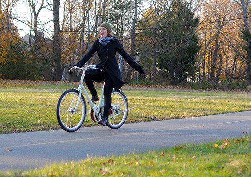 Test Riding the Paper Bicycle