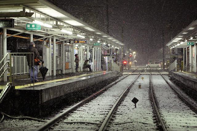 駅の雪装飾
