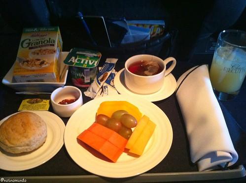 Café da manhã da classe executiva na Copa Airlines