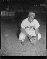 Jackie Robinson of the Brooklyn Dodgers at Braves Field