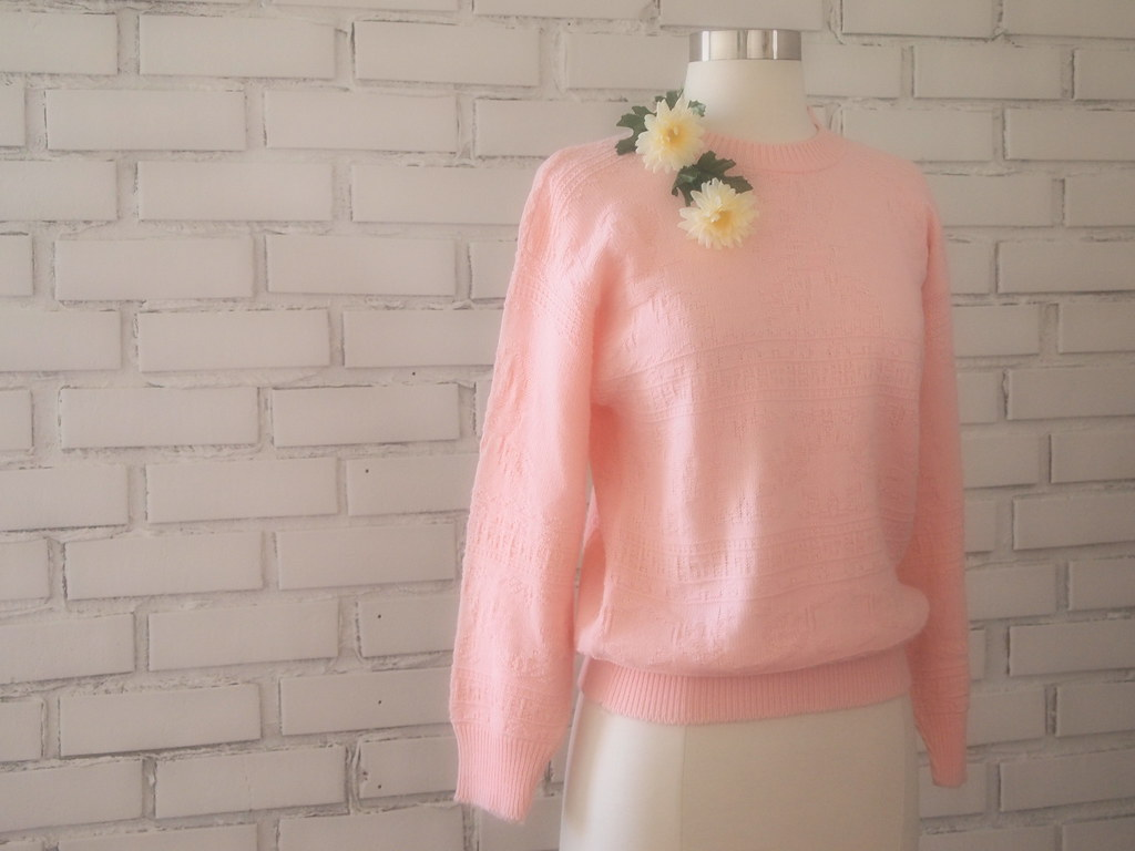 vintage blush rose sweater