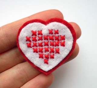 Cross stitch heart brooch