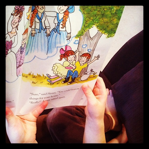 Reading to Mama.