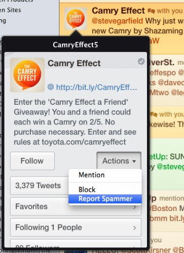 Report Spammer CamryEffect5 by stevegarfield