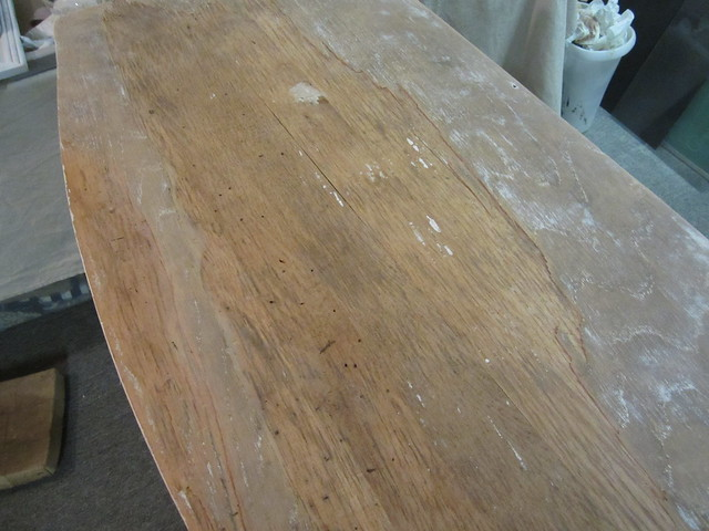 sanding wood veneer table 1