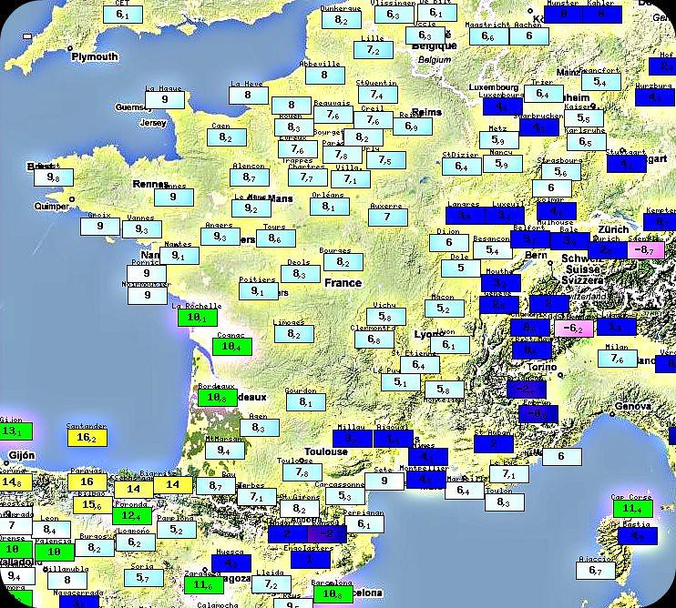 températures minimales du 8 février 1966 météopassion