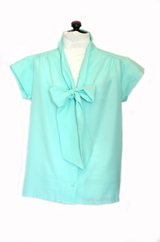 Vintage Mint Blue Ascot Blouse