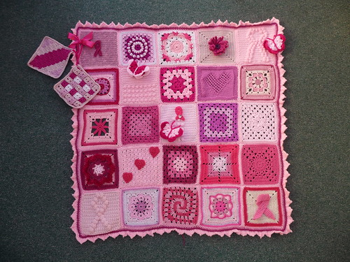 Thanks to everyone that contributed Squares for 'Think Pink' Blanket. You will be pleased to know we have just raised £102.00 for Breast Cancer Care. I am over the moon! Thanks to all involved in the making of this Blanket.