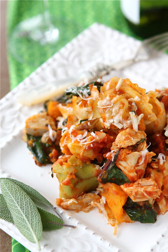 Baked Tortellini with Turkey (or Chicken), Butternut Squash & Chard Recipe | cookincanuck.com
