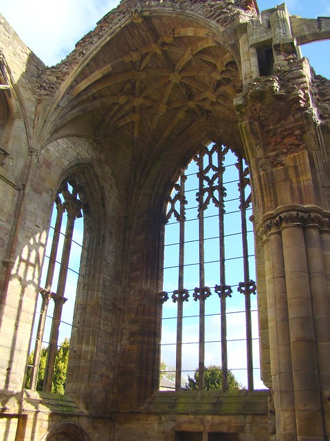 Melrose Abbey, Scotland-  Tracery Window