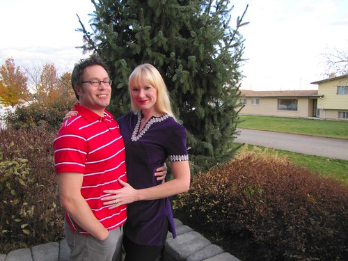 Joshy and Liz in the front yard