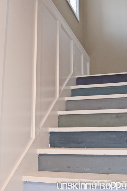 painted staircase with board and batten