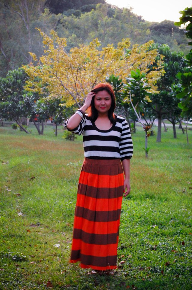 bold stripes, denise katipunera, ukay ukay fashion blogger. pinay fashion blogger, brown lace up booties, stripes on stripes