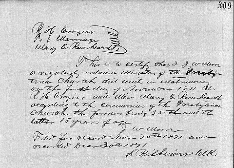 Reverend Robert Haskins Crozier, D.D. and Mary Elizabeth Reinhardt Marriage