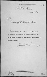 Message of President Herbert Hoover nominating Charles G. Dawes to be Ambassador Extraordinary and Plenipotentiary to England, 04/16/1929