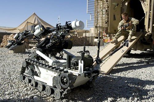 Soldier Operates Wheel Barrow Mk 8 Counter IED Robot in Afghanistan