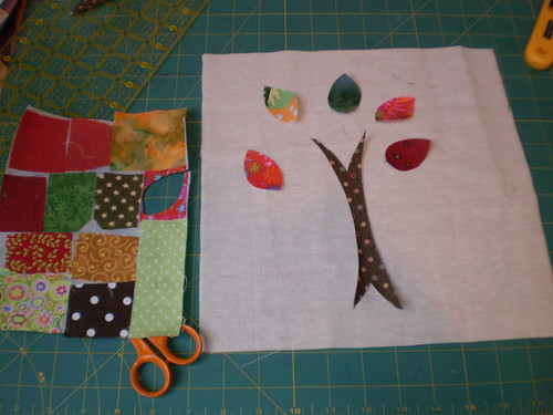 The start of a scrap buster pillow from tutorial on Sew Mama Sew (Handmade Holidays 2009 sit back and relax).