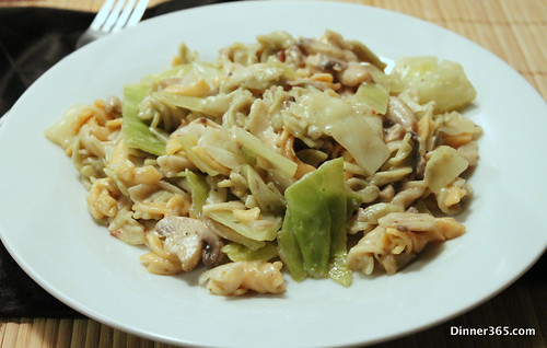 Day 338 - Cabbage and Mushroom Pasta