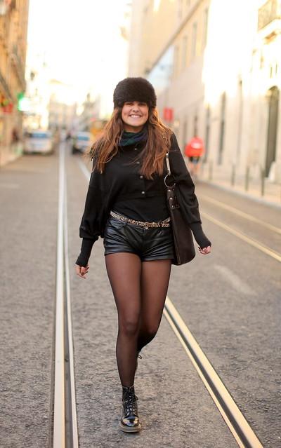 Matilde - calções sem frio, preto com luz