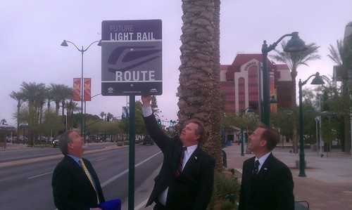 New light rail sign unveiled by Steve Banta and Mayor Smith