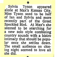 08-24-73 NYT Review - Sylvia Tyson @ Max's Kansas City