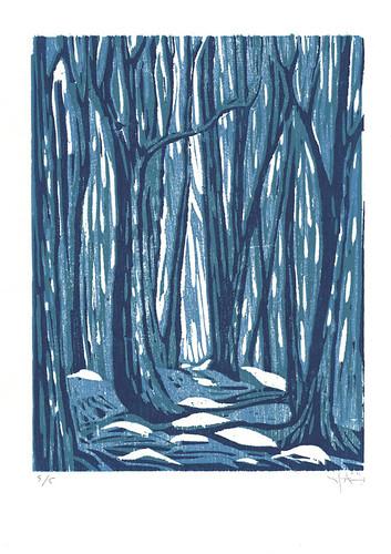 """Midwinter"" reduction woodcut"