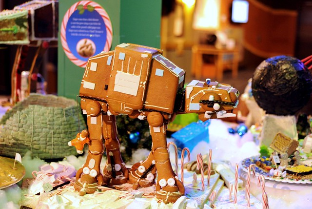 Gingerbread AT-AT Walker at Discovery Science Center in Orange County, CA. Made by Blackmarket Bakery.