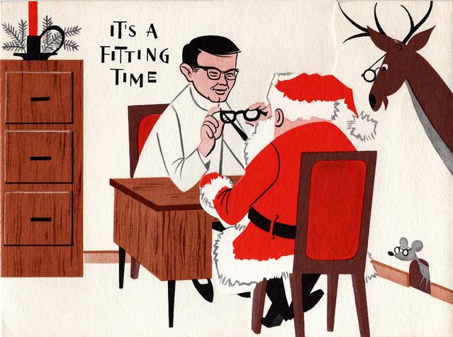 Vintage 1963 Christmas Card - Optometrist